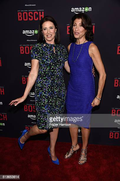 """Actors Mimi Rogers and Amy Aquino arrrive at the Premiere Of Amazon's """"Bosch"""" Season 2 at SilverScreen Theater at the Pacific Design Center on March..."""
