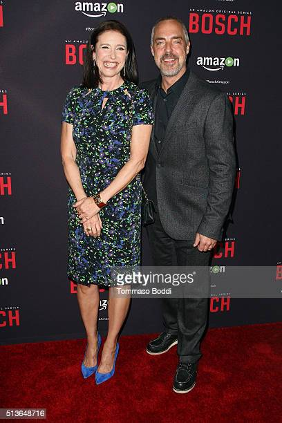 """Actors Mimi Rogers and Titus Welliver attend the Premiere Of Amazon's """"Bosch"""" Season 2 held at the SilverScreen Theater at the Pacific Design Center..."""