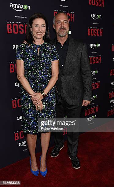 """Actors Mimi Rogers and Titus Welliver attend the Premiere Of Amazon's """"Bosch"""" Season 2 at SilverScreen Theater at the Pacific Design Center on March..."""