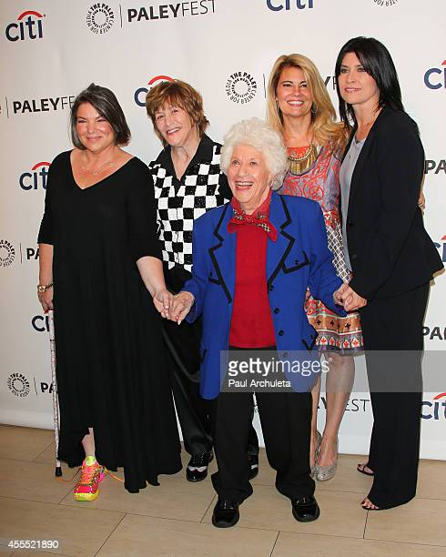 Actors Mindy Cohn Geri Jewell Charlotte Rae Lisa Whelchel and Nancy McKeon attend the 2014 PaleyFest Fall TV preview of The Facts Of Life 35th...