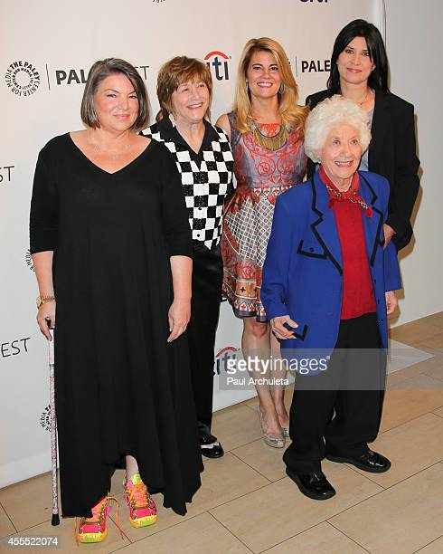 """Actors Mindy Cohn, Geri Jewell, Lisa Whelchel, Charlotte Rae and Nancy McKeon attend the 2014 PaleyFest Fall TV preview of """"The Facts Of Life"""" 35th..."""