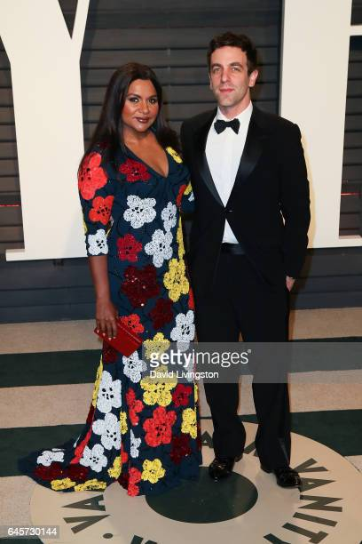 Actors Mindy Kaling and B J Novak attend the 2017 Vanity Fair Oscar Party hosted by Graydon Carter at the Wallis Annenberg Center for the Performing...