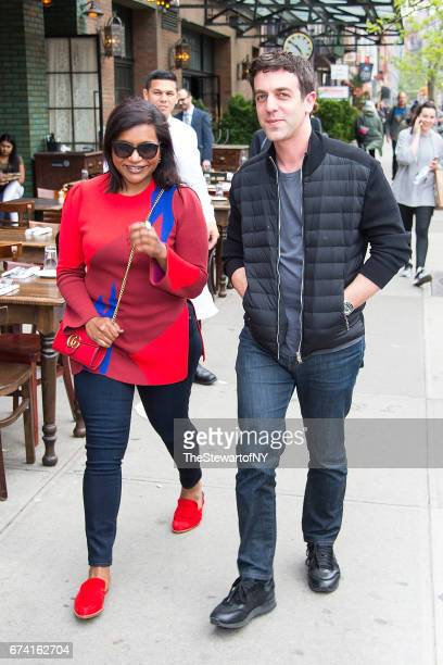Actors Mindy Kaling and BJ Novak are seen in the East Village on April 27 2017 in New York City