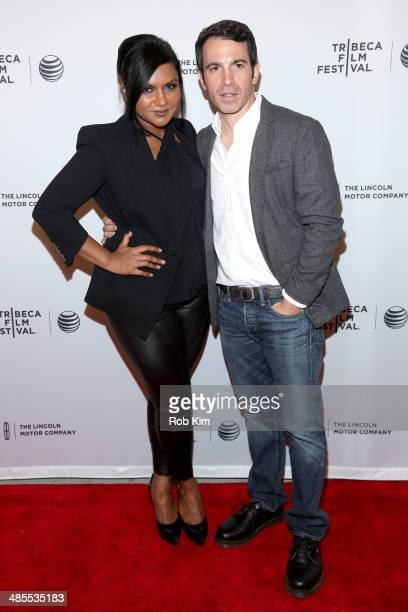 Actors Mindy Kaling and Chris Messina attend the 'Alex of Venice' Premiere during the 2014 Tribeca Film Festival at SVA Theater on April 18 2014 in...
