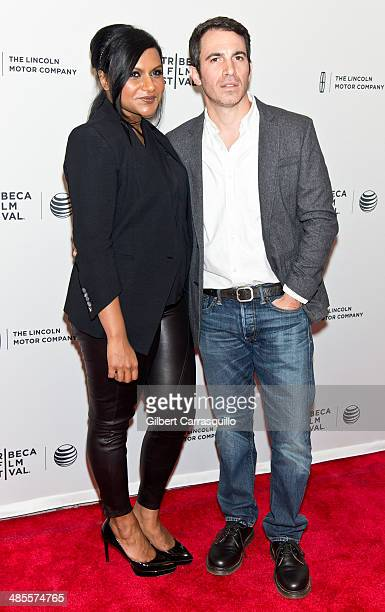 Actors Mindy Kaling and Chris Messina attend the 'Alex of Venice' screening during the 2014 Tribeca Film Festival at SVA Theater on April 18 2014 in...
