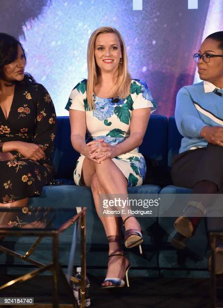 Actors Mindy Kaling Reese Witherspoon and Oprah Winfrey participate in the press conference for Disney's 'A Wrinkle in Time' in Hollywood CA on March...