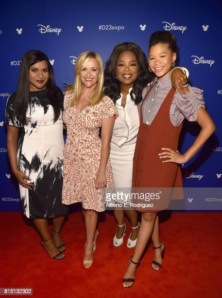 Actors Mindy Kaling Reese Witherspoon Oprah Winfrey and Storm Reid of A WRINKLE IN TIME took part today in the Walt Disney Studios live action...
