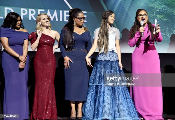 Actors Mindy Kaling Reese Witherspoon Oprah Winfrey Storm Reid and director Ava DuVernay speak onstage at the world premiere of Disney's 'A Wrinkle...