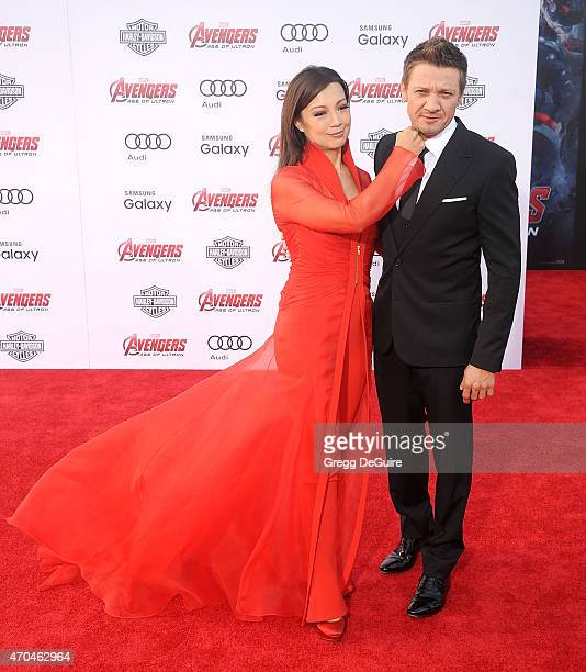 Actors MingNa Wen and Jeremy Renner arrive at the Los Angeles premiere of Marvel's 'Avengers Age Of Ultron' at Dolby Theatre on April 13 2015 in...