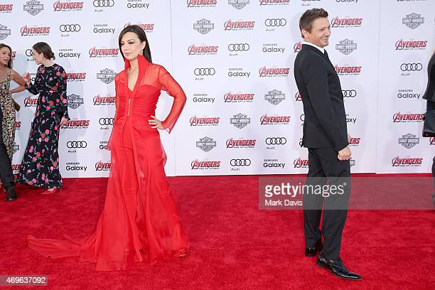 Actors MingNa Wen and Jeremy Renner attend the premiere of Marvel's 'Avengers Age Of Ultron' at Dolby Theatre on April 13 2015 in Hollywood California