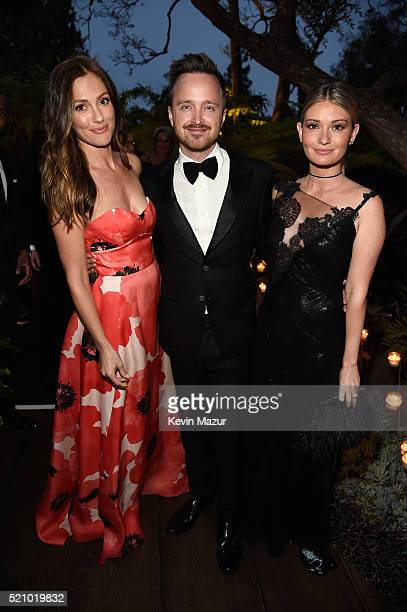 Actors Minka Kelly Aaron Paul and Lauren Parsekian attend the launch of the Parker Institute for Cancer Immunotherapy an unprecedented collaboration...
