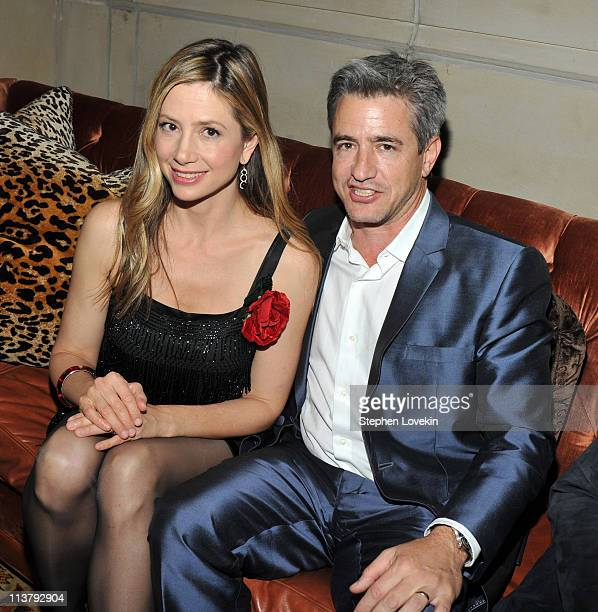 Actors Mira Sorvino and Dermot Mulroney attend the Cinema Society Grey Goose after party for There Be Dragons at Soho Grand Hotel on May 5 2011 in...
