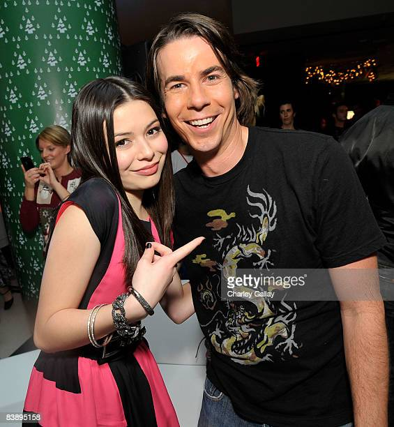 Actors Miranda Cosgrove and Jerry Trainor attend the after party for Merry Christmas Drake Josh at the Westside Pavillion on December 2 2008 in...