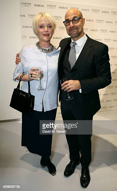 Actors Miranda Richardson and Stanley Tucci attend Dancing Away photographic exhibition by Mikhail Baryshnikov at ContiniArtUK co hosted by Damiani...