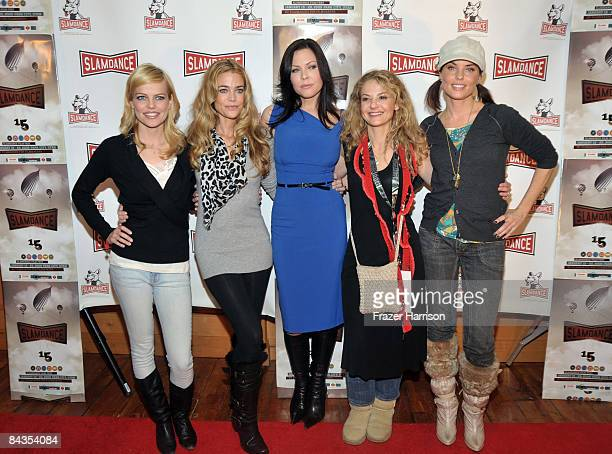Actors Mircea Monroe Denise Richards Christa Campbell director Julie Davis and actress Donnamarie Recco attend the premiere of Finding Bliss held at...