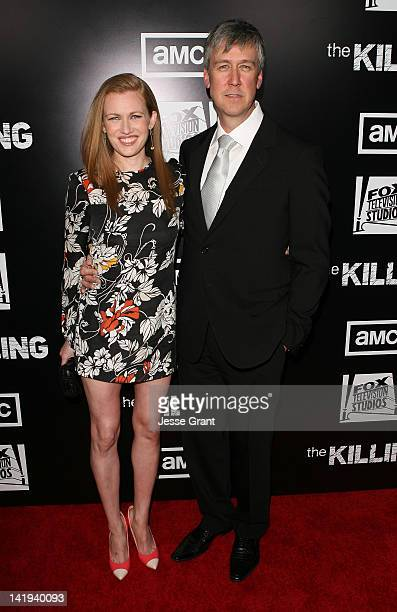 Actors Mireille Enos and Alan Ruck arrive at AMC's 'The Killing' Season 2 Los Angeles Premiere at ArcLight Cinemas on March 26 2012 in Hollywood...