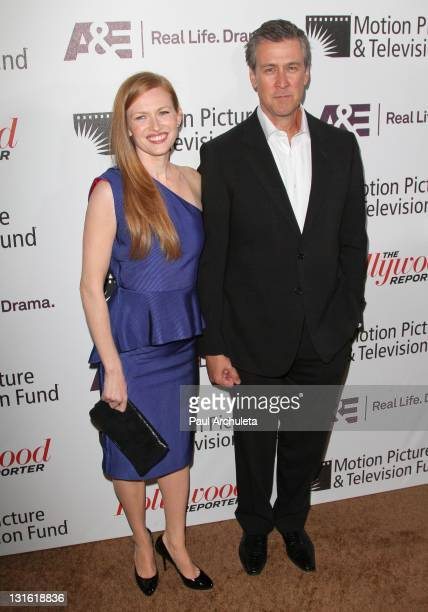 Actors Mireille Enos and husband Alan Ruck arrive at the Motion Picture Television Fund's 'Reel Stories Real Lives' at Milk Studios on November 5...