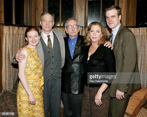 Actors Mireille Enos, Bill Irwin, playwright Edward Albee, actress Kathleen Turner and actor David Harbour pose for photographs after the curtain...