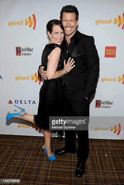 Actors Miriam Shor and Mark Deklin arrive at the 23rd Annual GLAAD Media Awards presented by Ketel One and Wells Fargo held at Westin Bonaventure...