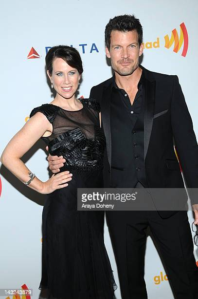 Actors Miriam Shor and Mark Deklin arrive at the 23rd Annual GLAAD Media Awards at Westin Bonaventure Hotel on April 21, 2012 in Los Angeles,...