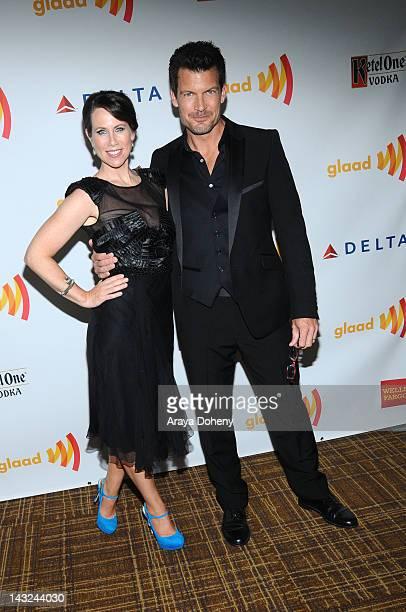 Actors Miriam Shor and Mark Deklin arrive at the 23rd Annual GLAAD Media Awards at Westin Bonaventure Hotel on April 21 2012 in Los Angeles California