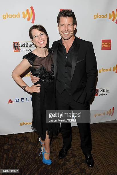 Actors Miriam Shor and Mark Deklin backstage at the 23rd Annual GLAAD Media Awards presented by Ketel One and Wells Fargo held at Westin Bonaventure...