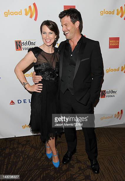 Actors Miriam Shor and Mark Deklin pose backstage at the 23rd Annual GLAAD Media Awards presented by Ketel One and Wells Fargo held at Westin...