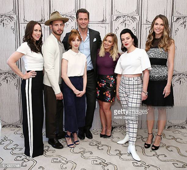 Actors Miriam Shor Nico Tortorella Molly Bernard Peter Hermann Hilary Duff Debi Mazar and Sutton Foster attend The Build Series Presents The Cast Of...