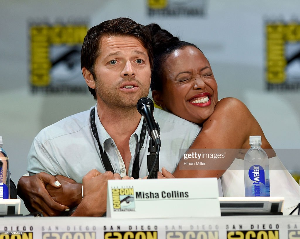 Actors Misha Collins (L) and Aisha Tyler attend the TV Guide Magazine: Fan Favorites panel during Comic-Con International 2014 at the San Diego Convention Center on July 26, 2014 in San Diego, California.