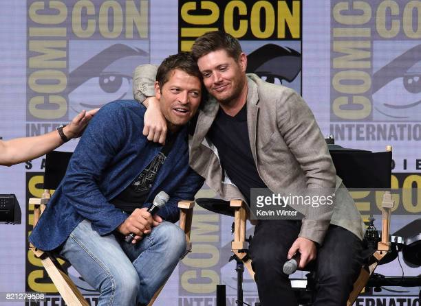 Actors Misha Collins and Jensen Ackles at the 'Supernatural' panel during ComicCon International 2017 at San Diego Convention Center on July 23 2017...