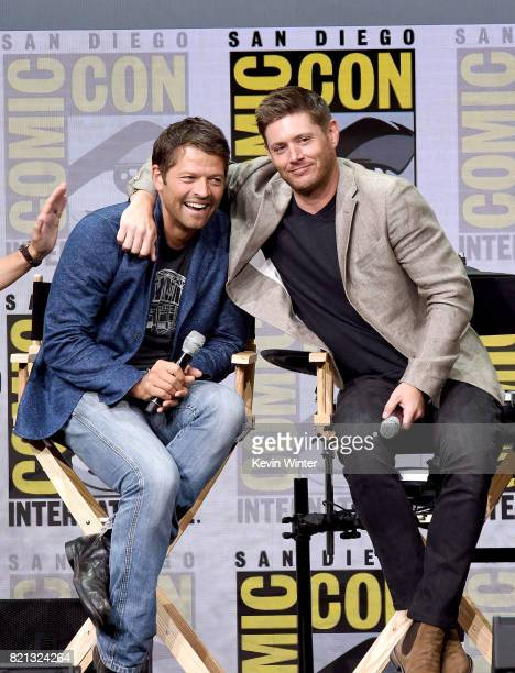 Actors Misha Collins and Jensen Ackles at the Supernatural panel during ComicCon International 2017 at San Diego Convention Center on July 23 2017 in...