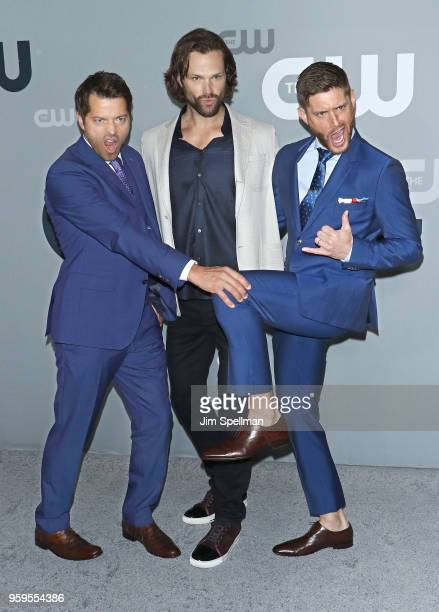 R Actors Misha Collins Jared Padalecki and Jensen Ackles attend the 2018 CW Network Upfront at The London Hotel on May 17 2018 in New York City