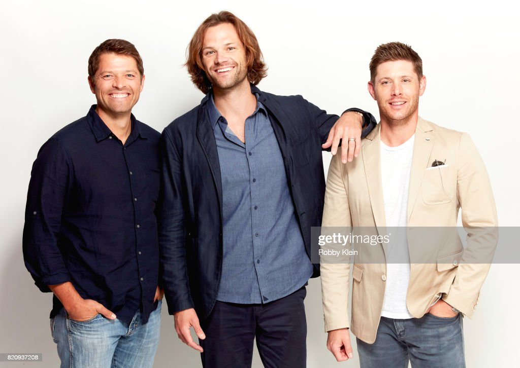 Actors Misha Collins, Jared Padalecki, and Jensen Ackles from CW's 'Supernatural' pose for a portrait during Comic-Con 2017 at Hard Rock Hotel San Diego on July 21, 2017 in San Diego, California.