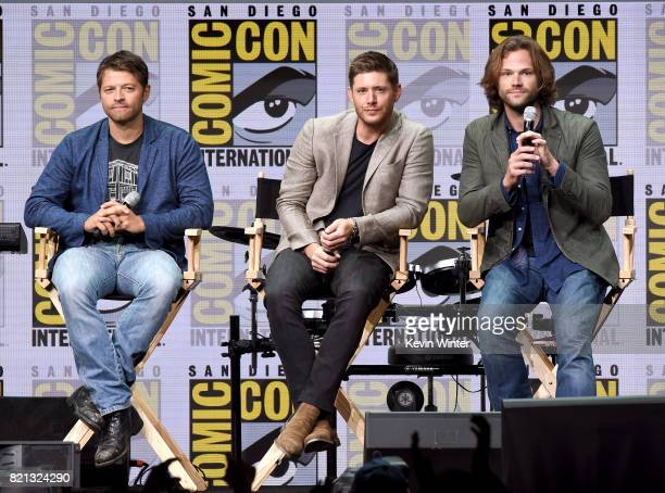 Actors Misha Collins Jensen Ackles and Jared Padalecki at the Supernatural panel during ComicCon International 2017 at San Diego Convention Center on...