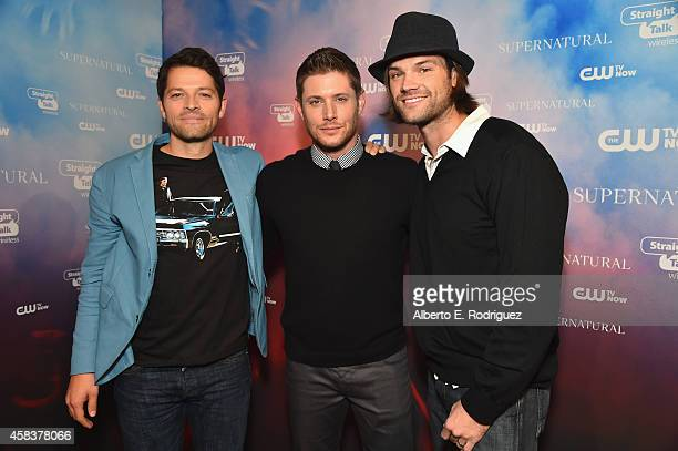 Actors Misha Collins Jensen Ackles and Jared Padalecki attend the CW's Fan Party to Celebrate the 200th episode of Supernatural on November 3 2014 in...