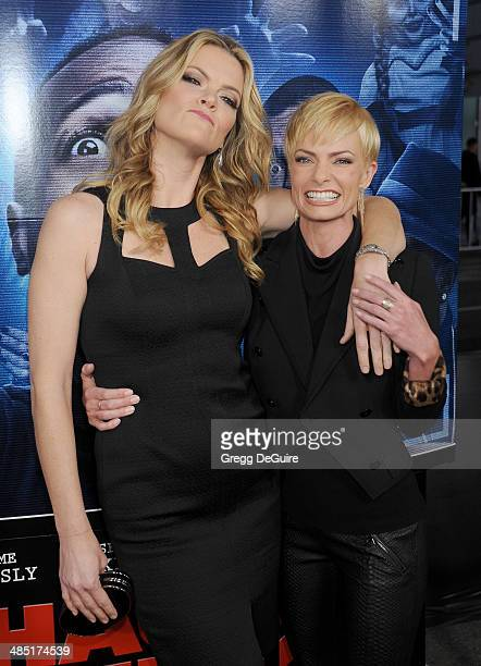 Actors Missi Pyle and Jaime Pressly arrive at the Los Angeles premiere of 'A Haunted House 2' at Regal Cinemas LA Live on April 16 2014 in Los...