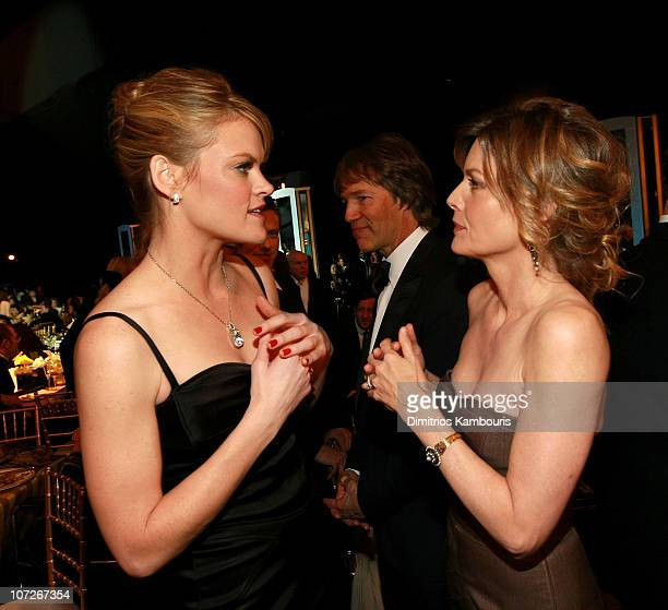 Actors Missi Pyle and Michelle Pfeiffer backstage at the TNT/TBS broadcast of the 14th Annual Screen Actors Guild Awards at the Shrine Auditorium on...