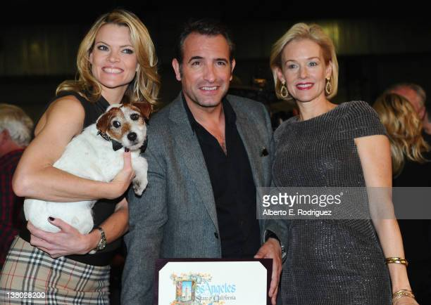 """Actors Missi Pyle, Jean Dujardin, Penelope Ann Miller and Uggie the dog attend the Inaugural presentation of the Los Angeles City Council's """"Made in..."""