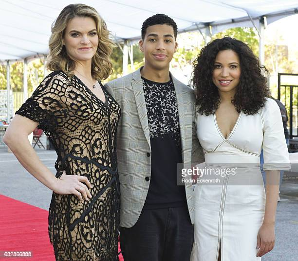 Actors Missi Pyle, Marcus Scribner, and Jurnee Smollett-Bell pose for portrait at the SAG red carpet roll out at The Shrine Expo Hall on January 27,...