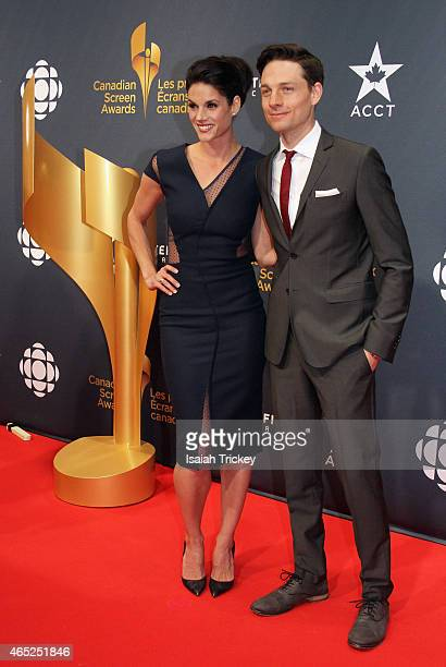 Actors Missy Peregrym and Gregory Smith arrive at the 2015 Canadian Screen Awards at the Four Seasons Centre for the Performing Arts on March 1 2015...