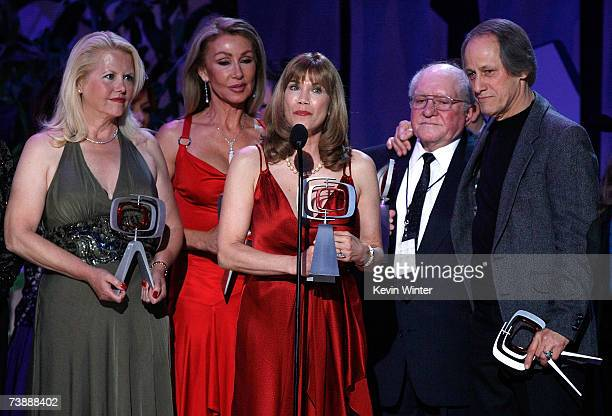 Actors Misty Rowe Linda Thompson Barbi Benton producer Sam Lovullo and Jon Hager accept the Entertainers Award onstage during the 5th Annual TV Land...