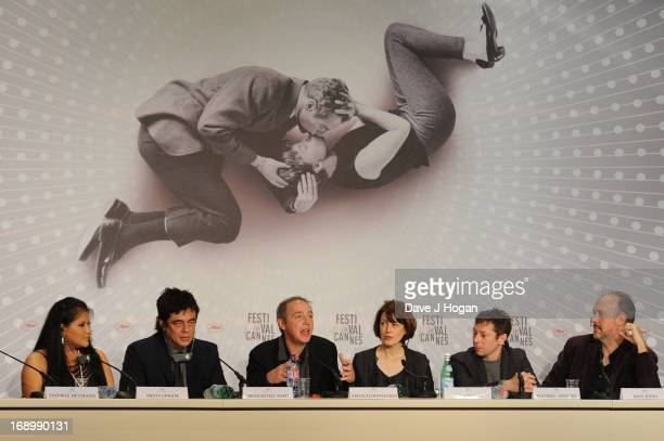 Actors Misty Upham and Benicio Del Toro director Arnaud Desplechin and actors Gina McKee Mathieu Amalric and writer Kent Jones attend the 'Jimmy P '...