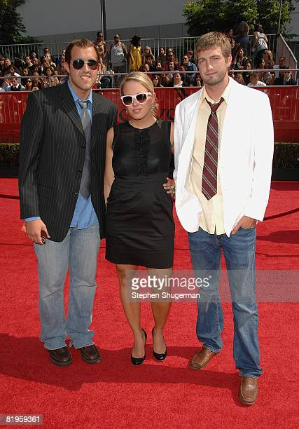 Actors Mitch Reinholt, Hannah Bailey and Colin Clemens arrive at the 2008 ESPY Awards held at NOKIA Theatre L.A. LIVE on July 16, 2008 in Los...