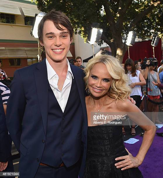 Actors Mitchell Hope and Kristin Chenoweth attend the premiere of Disney Channel's 'Descendants' at Walt Disney Studios on July 24 2015 in Burbank...