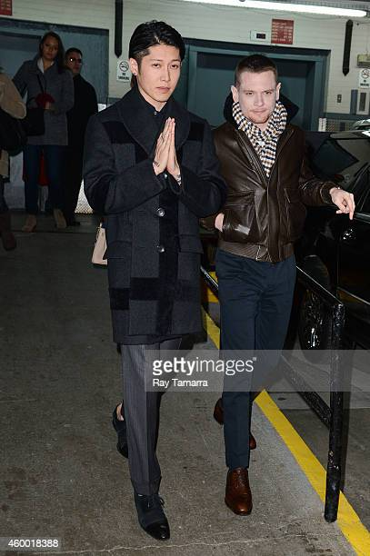 Actors Miyavi and Jack O'Connell leave the 'Huff Post Live' taping at the Huffington Post Studios on December 5 2014 in New York City