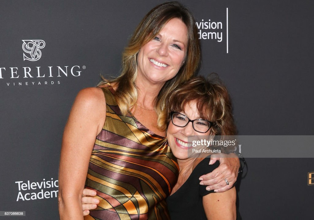 Actors Mo Collins (L) and Mindy Sterling (R) attend the Television Academy's Performers Peer Group Celebration at The Montage Beverly Hills on August 21, 2017 in Beverly Hills, California.
