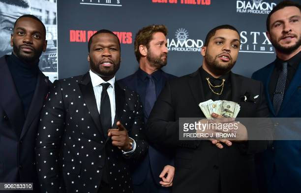 Actors Mo McRae Curtis '50 Cent' Jackson Gerard Butler O'Shea Jackson Jr and Pablo Schreiber arrive for the premiere of the film 'Den of Thieves' in...