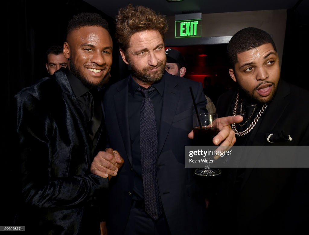Actors Mo McRae, Gerard Butler and O'Shea Jackson Jr. attend the after party for the premiere of STX Films' 'Den Of Thieves' at WP24 Restaurant in Los Angeles, California.
