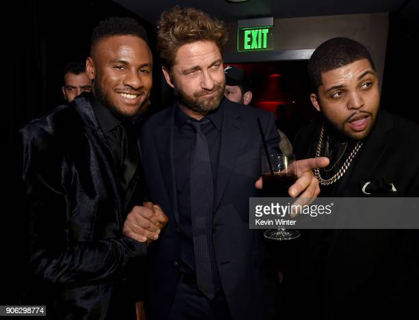 Actors Mo McRae Gerard Butler and O'Shea Jackson Jr attend the after party for the premiere of STX Films' 'Den Of Thieves' at WP24 Restaurant in Los...