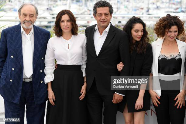 Actors Mohamed Dhjouri Aure Atika Hassan Kachach Hania Amar Nadia Kaci attend 'Waiting For Swallows ' photocall during the 70th annual Cannes Film...